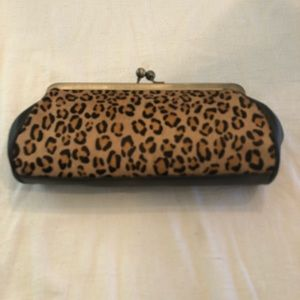 Ann Taylor leopard and leather loft purse